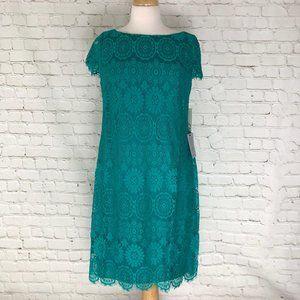 Eliza J Teal Lace Dress Size 8 NWT